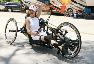 Tour member Briana on her handcycle at Liberty Park in Salt Lake on Thursday.