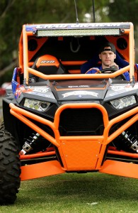 Chad Graham in the off-road buggy he will drive 4800km from Kalgoorlie to Cobar.