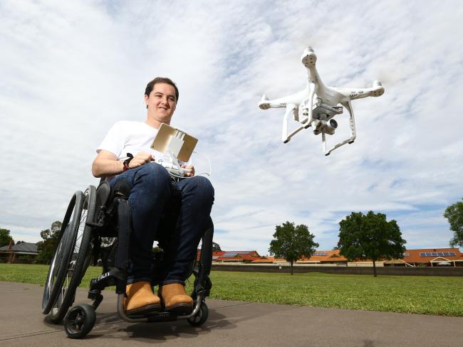 Charles Brice became a quadriplegic after a motorbike accident in 2010, forcing him to give up his dream of becoming a pilot. Instead, he's started a business filming and taking photos with drones. Picture: Tait Schmaal