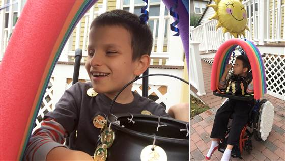 Ivan, 9, is nonverbal but his parents say he clearly loves the attention he gets on Halloween. This year he's going as the pot of gold at the end of the rainbow.
