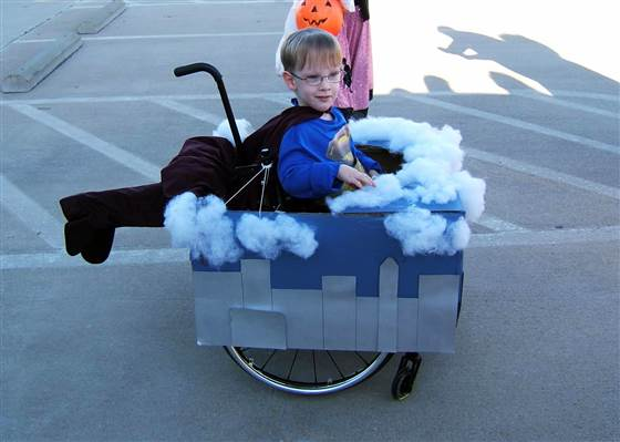 Up, up and away! Caleb at age 4. His mom, Cassie, publishes a blog to celebrate creative, wheelchair-assisted costumes.