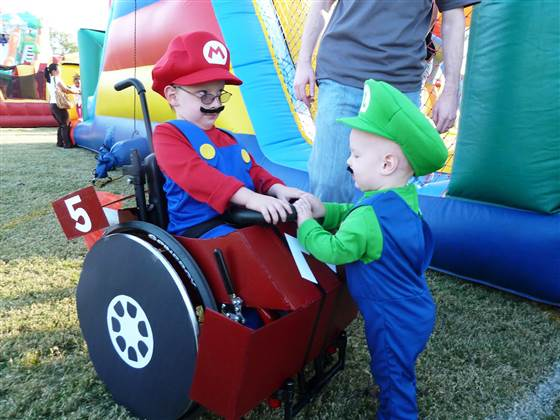 Caleb McLelland at age 5 as Mario, with little brother Benjamin, age 2, as Luigi. Their mom tries to make Caleb's Halloween costumes extra-special.