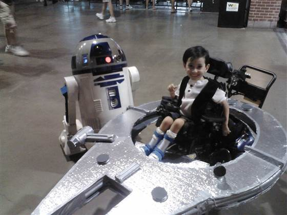 Kyle Byrd pilots the Millenium Falcon in this photo from 2012, when he was 5. He and his twin sister use wheelchairs due to spinal muscular atrophy.
