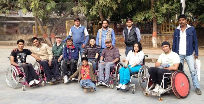 Jonathan (third from left) and the Delhi Warriors wheelchair rugby team.