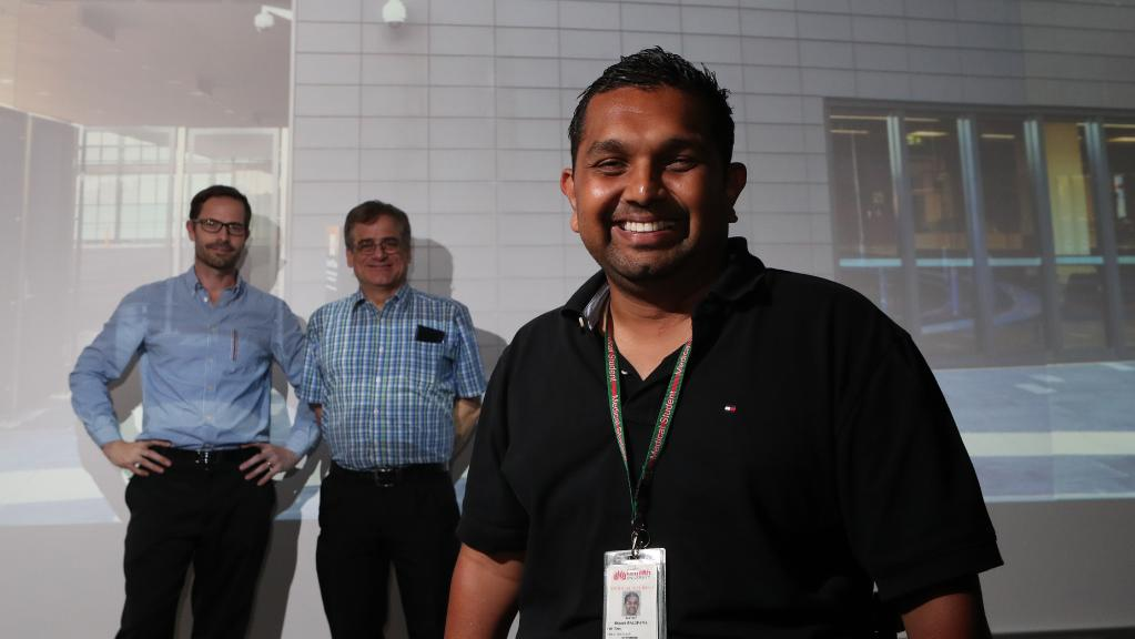 Dr Gary Grant, Professor Harry McConnell and Dinesh Palipana at the Griffith University virtual reality pharmacy laboratory. Picture: Scott Fletcher