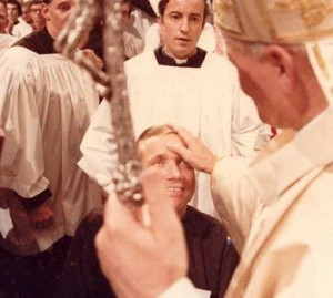 Father Atkinson receiving a blessing from Pope St. John Paul II