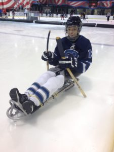 Fowler, suited up for sled hockey. Courtesy of David Fowler