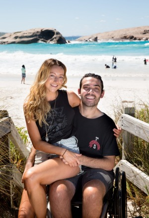 Jaimen Hudson and his girlfriend, Jess Fotheringham, at Twilight Beach, Esperance. Photo: Edwina Pickles