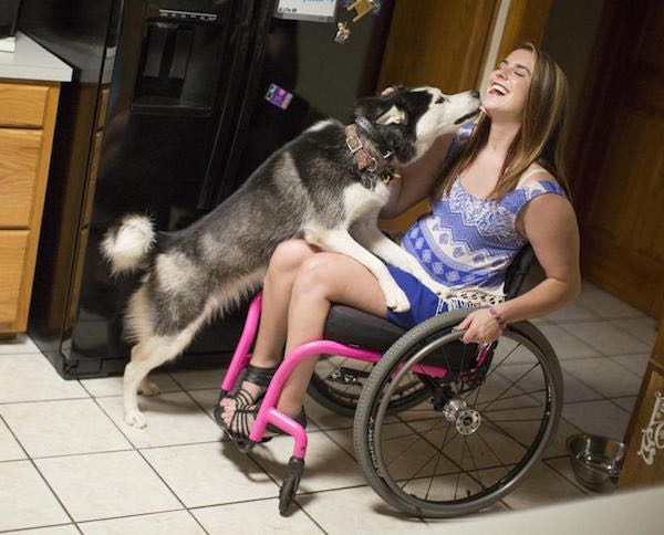 Jesi Stracham with her dog