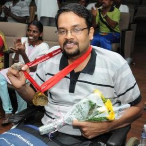 A physical disability doesn't have to be an obstacle to one's happiness, says Justin Vijay Jesudas. In this 2014 photo, he is seen at a felicitation in Chennai for his victory in the 14th National Paralympics held in Indore, Madhya Pradesh. Photo: M. Karunakaran