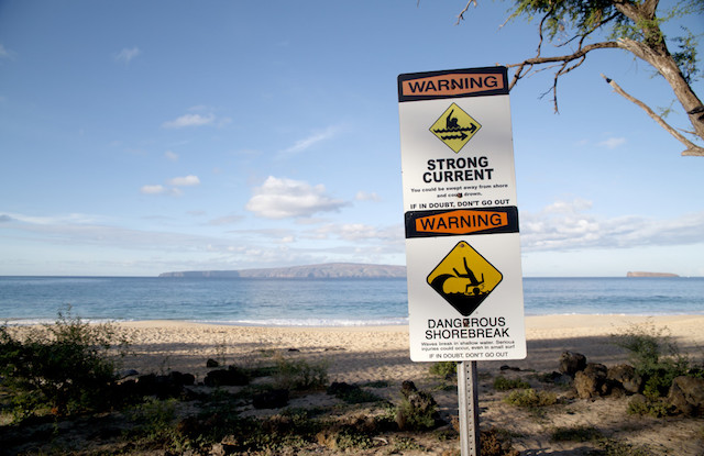 Makena Beach Warning Signs