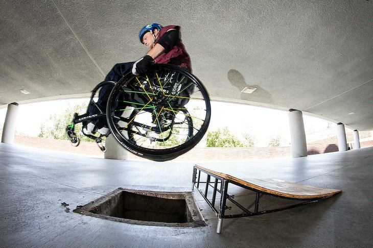 Paraplegic skateboarder Robert Thompkins