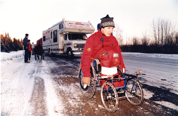 Rick Hansen brought his Man in Motion tour to Edmonton in March 1987. He raised more than $235,000 here for spinal cord research and wheelchair sports. Photograph by: File photo, Edmonton Journal