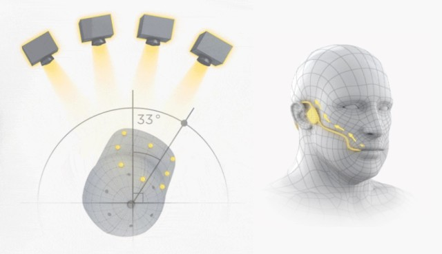Left: An overhead illustration of the infrared cameras that track the driver's head movements. Right: A depiction of the mouthpiece used for accelerating and braking. (Image courtesy of Arrow Electronics.)