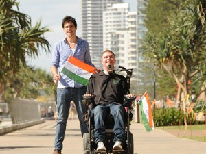 Sabour Bradley joined Australian quadriplegic Perry Cross on his trip to India to seek out stem cell treatment. Source: ABC