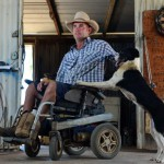 Winton dog trainer Steven Elliott with his dog Jilly. Picture: Evan Morgan