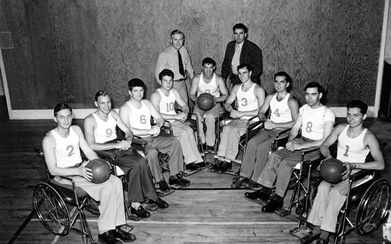 The Rolling Devils in 1947, including players Jerry Fesenmeyer (No. 1) and John Winterholler (center), with Dr. Gerald Gray (standing, left) Photo Courtesy: Deborah Harms