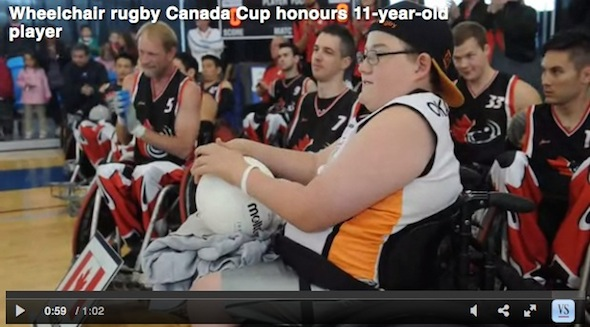 Wheelchair rugby a family affair for mom and son