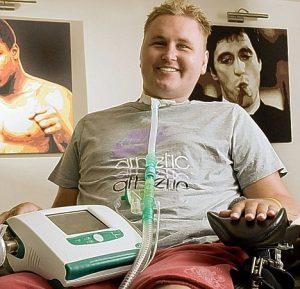 Still smiling: Matt is hoping to walk again