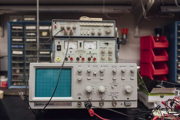 An oscilloscope, signal generator and amp meter in the lab of Dr. Reggie Edgerton, Director of UCLAís Edgerton Lab, on the UCLA campus in Los Angeles, California, March 16, 2016. Photo by Kendrick Brinson