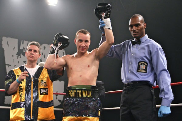 Boyd Melson Beats Hector Rivera In 44 Seconds In NYC. Melson who has been a professional boxer since 2010 donating all his purses to help raise funds for American's first Spinal Cord Injury Trial. Photo by Carlos Suarez.